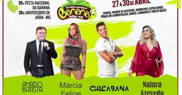 Programação da Festa Nacional da Banana de Jaíba 2018