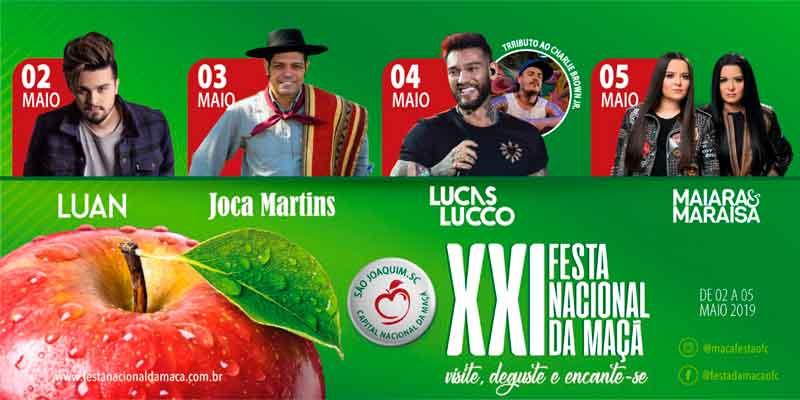 Programação da Festa da Maçã de São Joaquim 2019